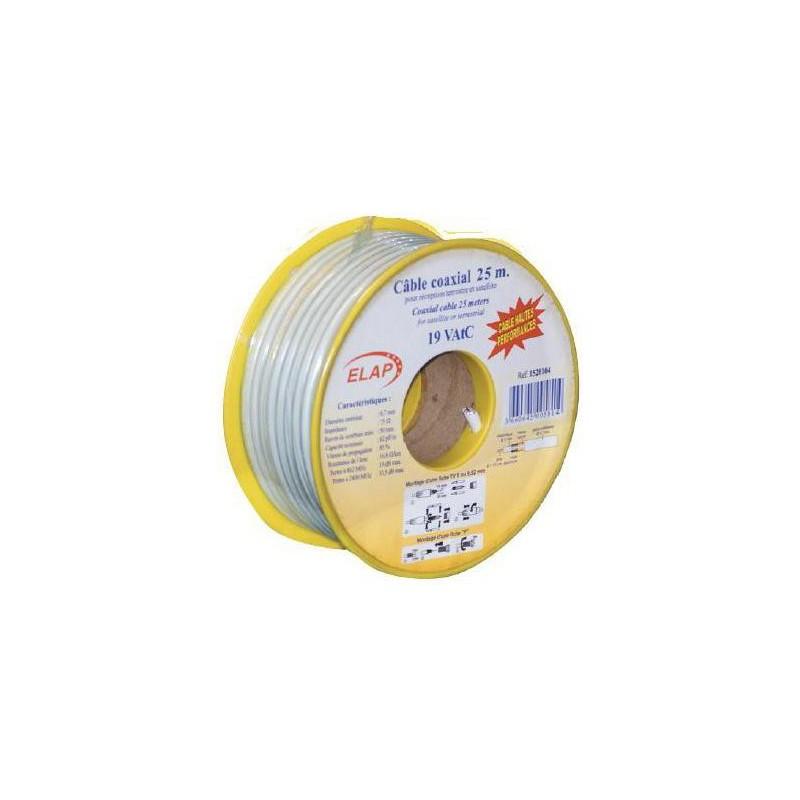 Bobine 15 m c ble coaxial 19 vatc blanc elap store for Cable plat passe fenetre