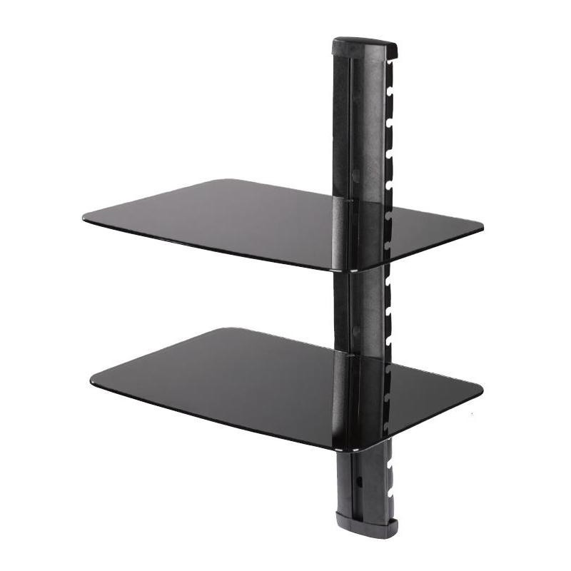 stand support dvdvcr tablettes verre teint noir fixation murale avec colonne with table fixation. Black Bedroom Furniture Sets. Home Design Ideas